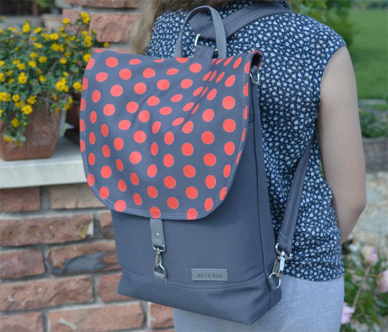 polka dot red backpack