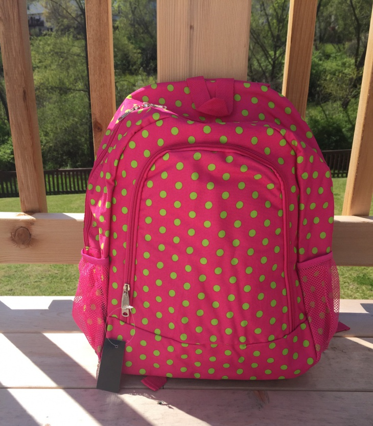 pink polka dot backpack