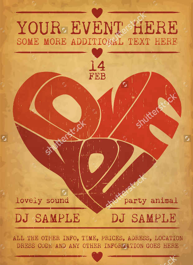 Vintage Valentines Day Party Flyer Design