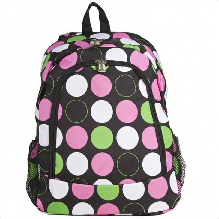 multi color polka dot backpack