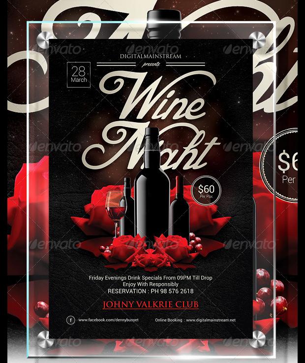 Wine Night Invitation Flyer Template