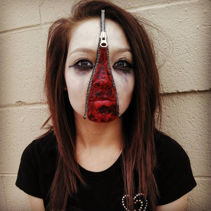 Zipper Face Zombie Makeup