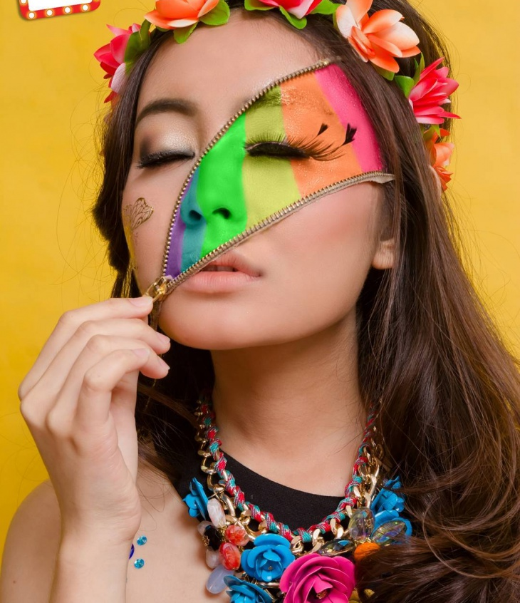 Cute Colorful Face Makeup