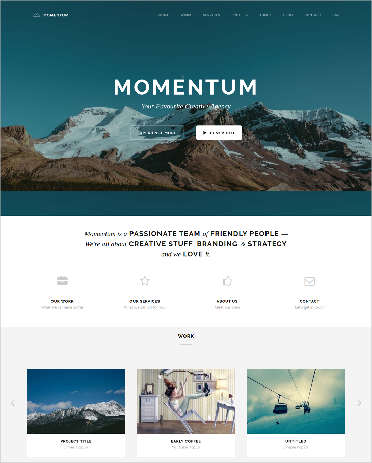 simple creative one page joomla template
