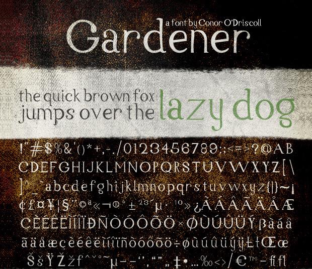 gardener rustic serif font