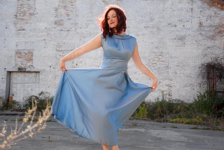 sleeveless toga style dress