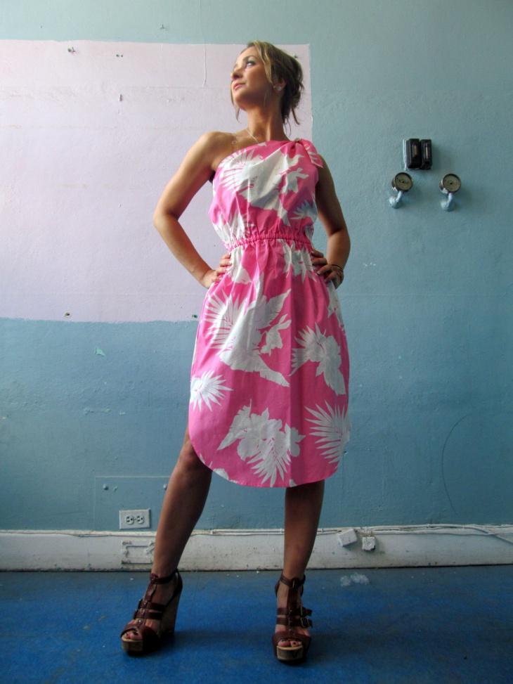 tropical toga dress