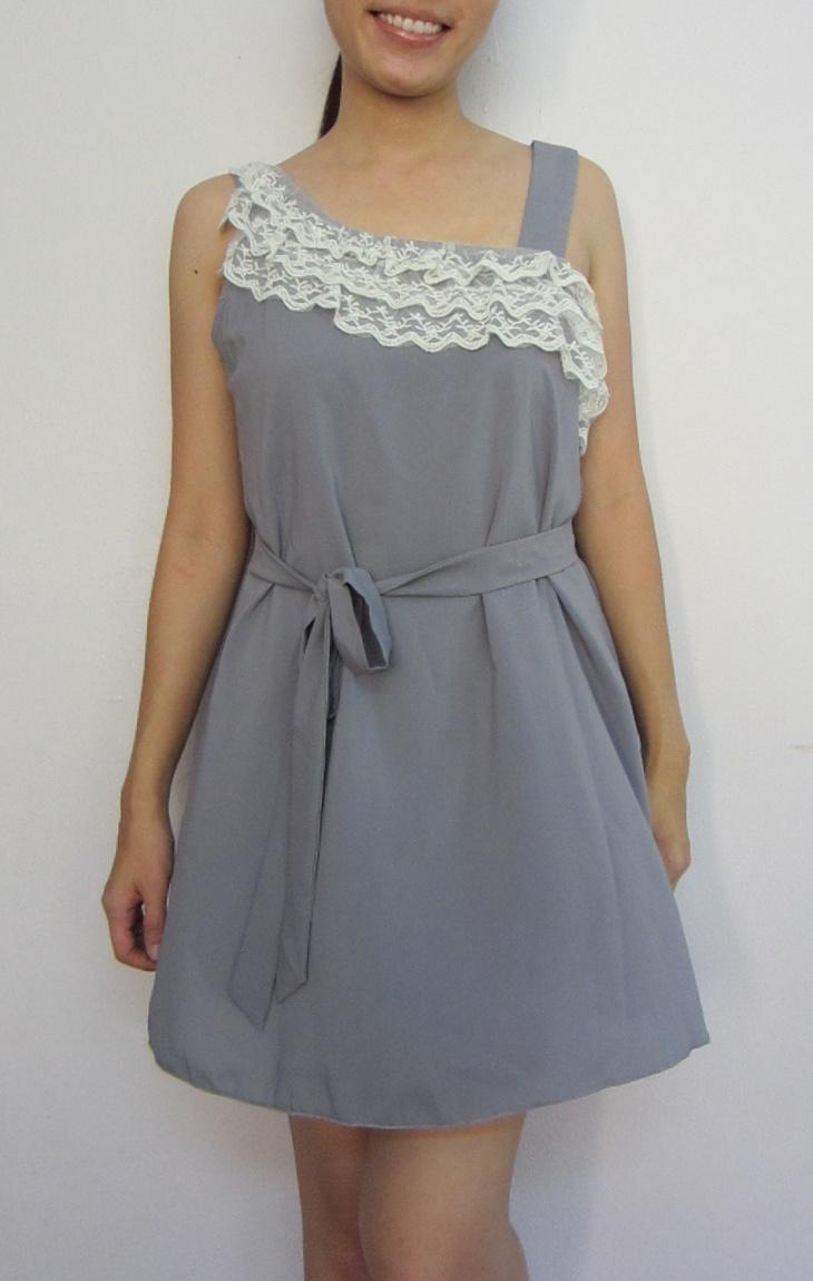 gray lace toga dress