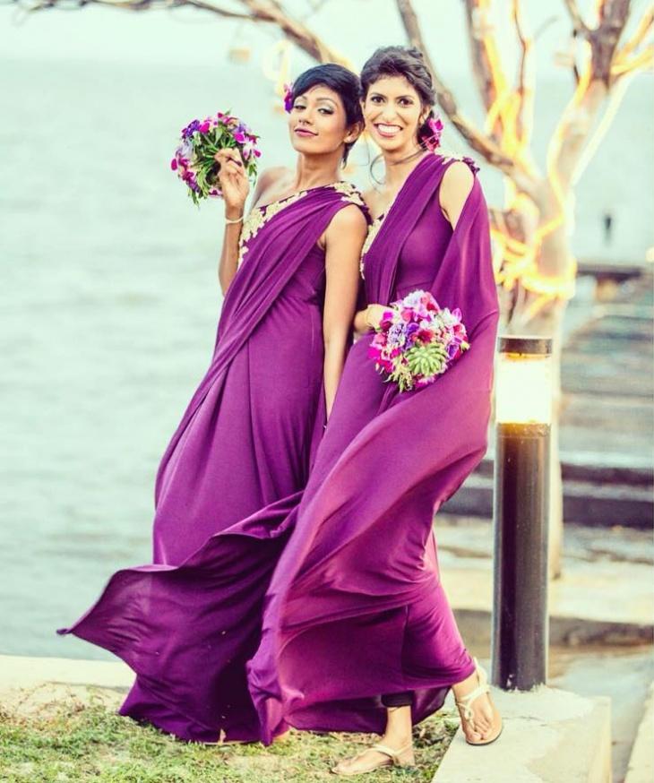 purple toga wedding dress
