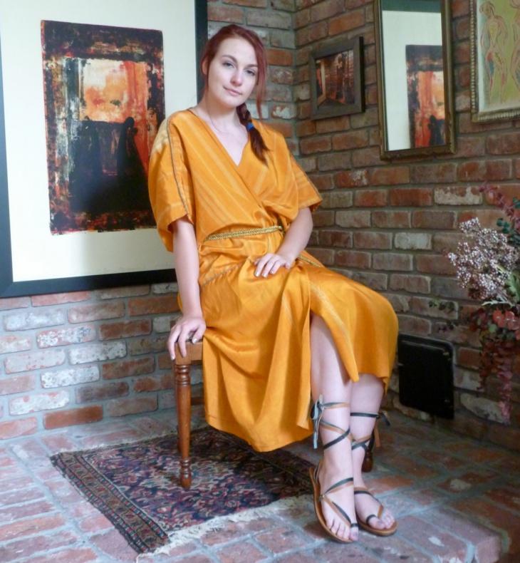 gold toga dress design