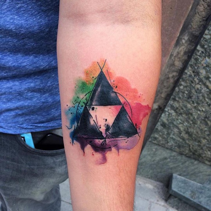 colorful zelda tattoo design
