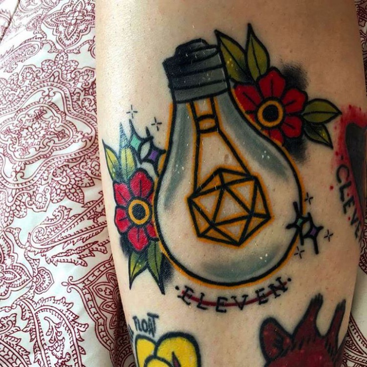 traditional light bulb tattoo