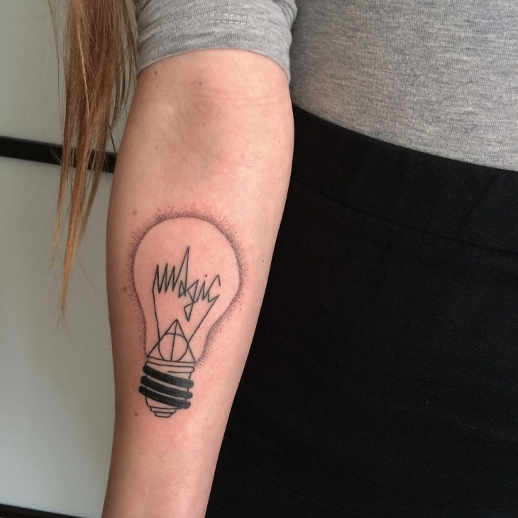 Light Bulb Tattoo on Arm