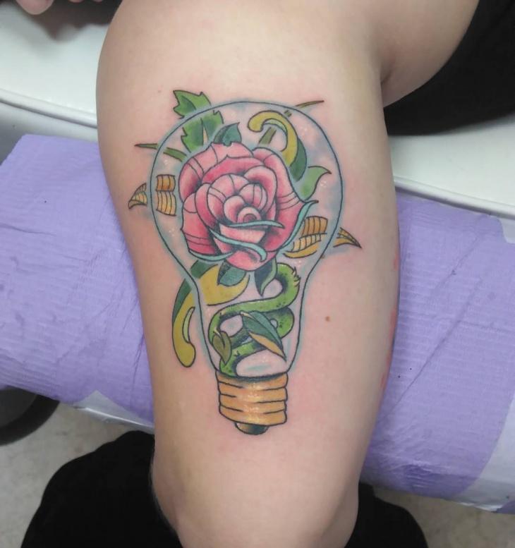 light bulb tattoo on leg