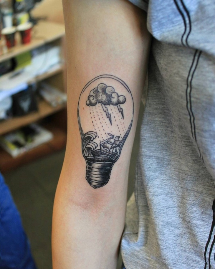 Cloud Light Bulb Tattoo Idea