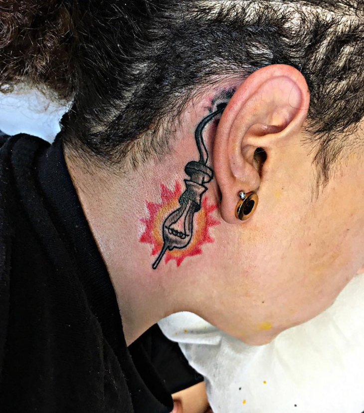 Light Bulb Tattoo for Behind Ear