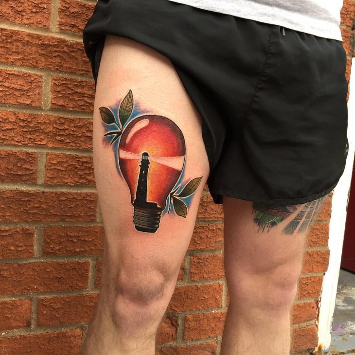 Light Bulb Tattoo for Thigh