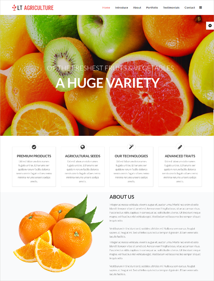 agriculture onepage joomla