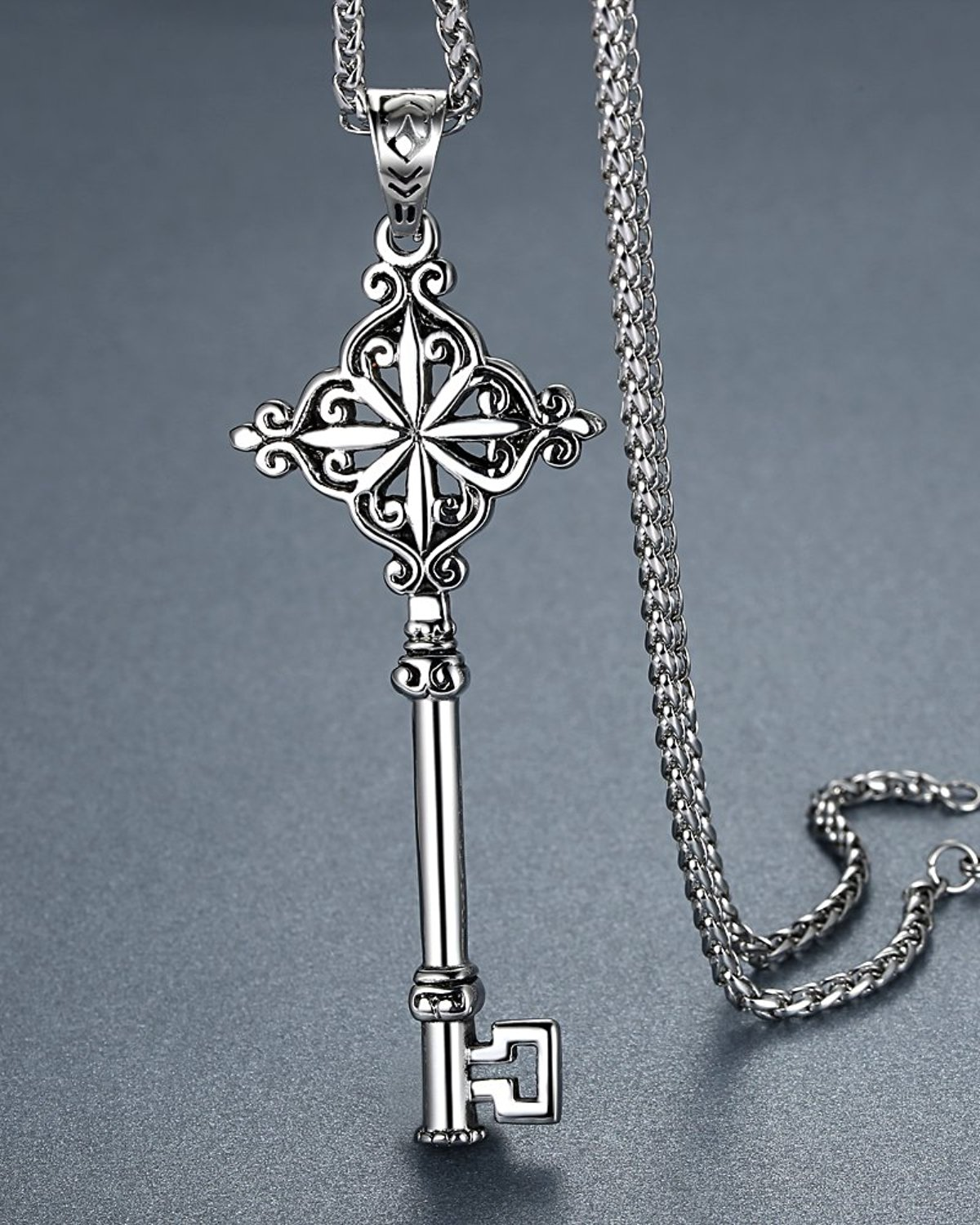 stainless key pendant necklace