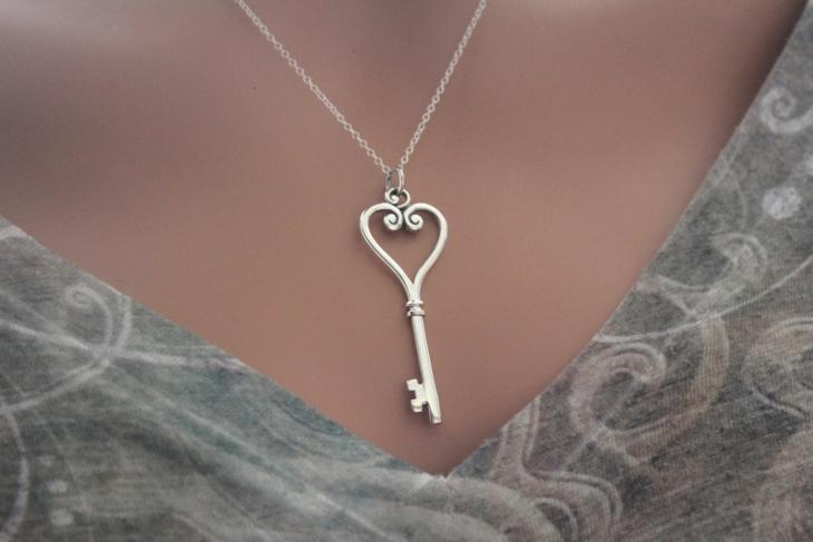 Sterling Silver Heart Key Pendant