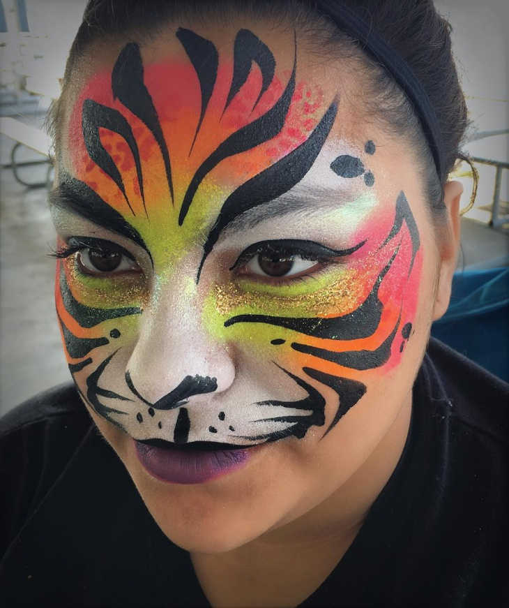 Glitter Tiger Face Makeup