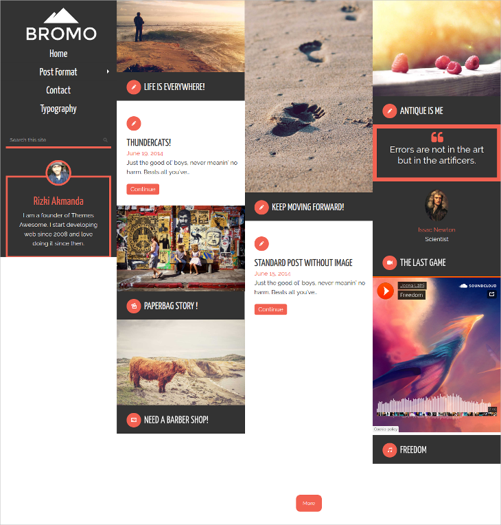 bromo grid blog wordpress theme