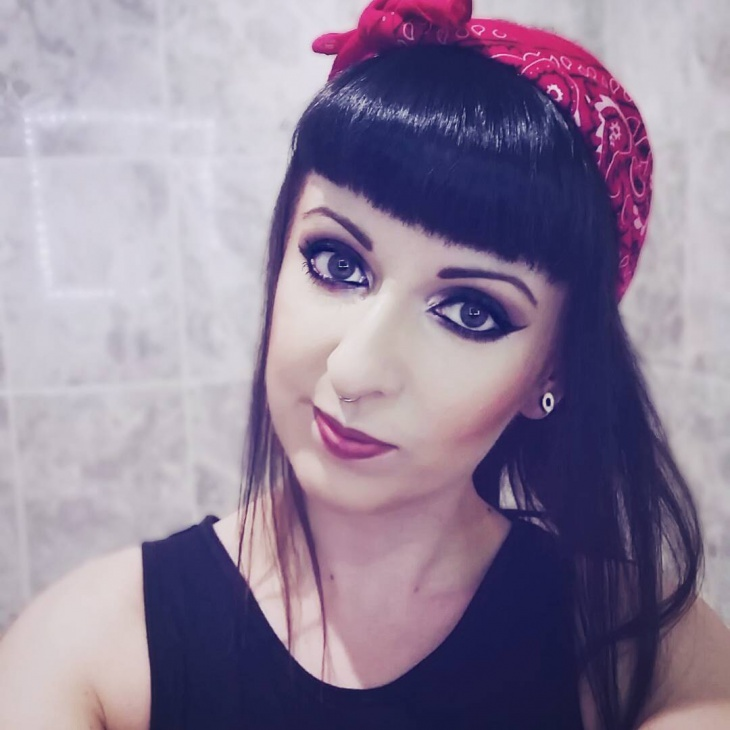 Black Bangs with Bandana Hair