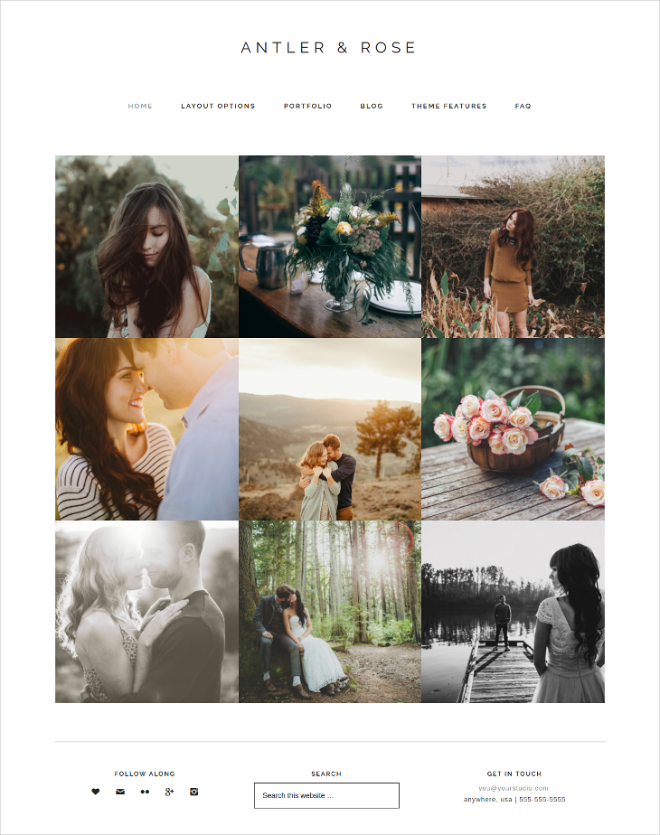antler rose photography grid wordpress theme