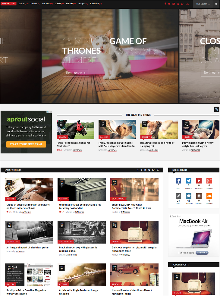 grid magazine news wordpress theme