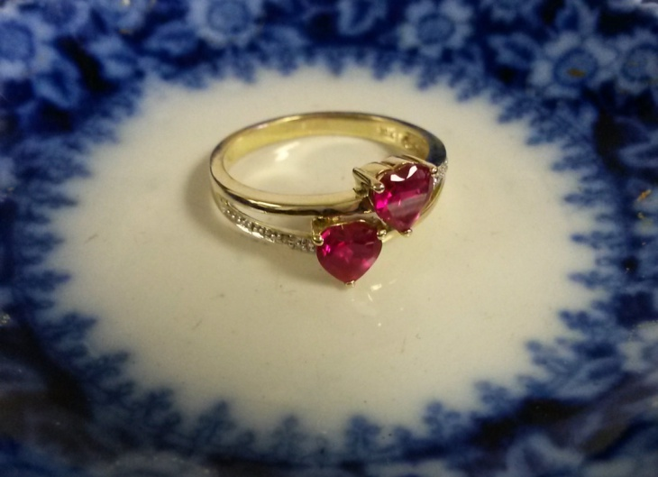 Double Heart Ruby ring
