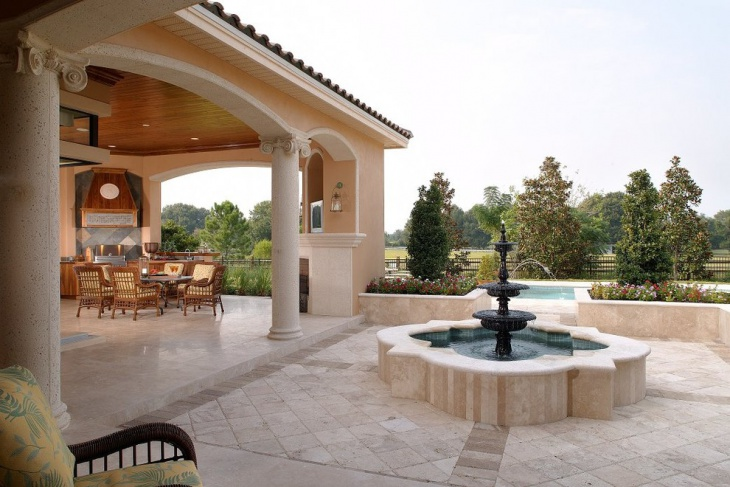 outdoor patio fountain design