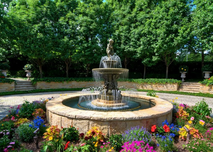 outdoor floral garden fountain