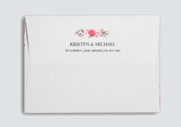 floral wedding envelope design