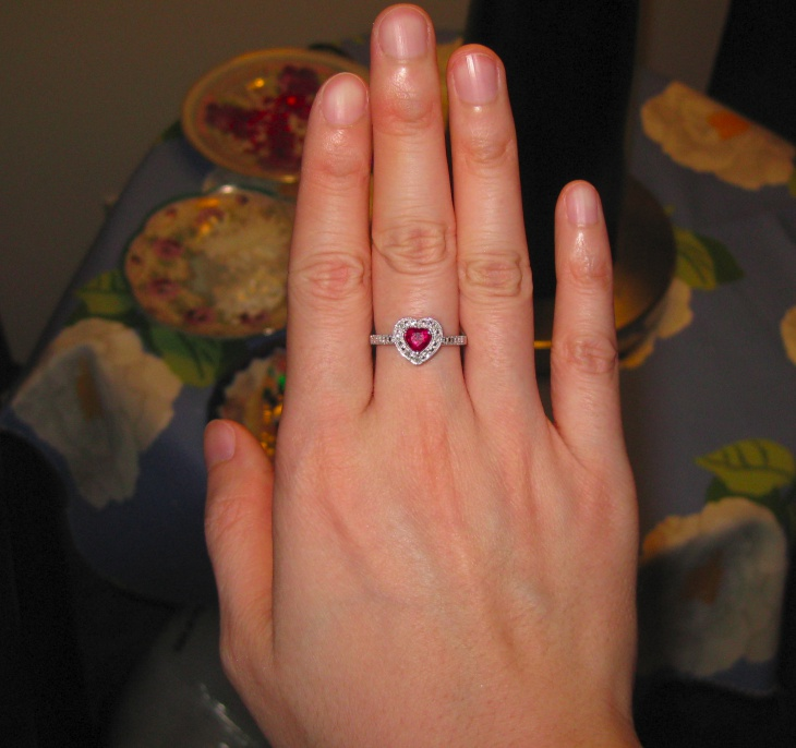 Diamond Ruby Heart Ring