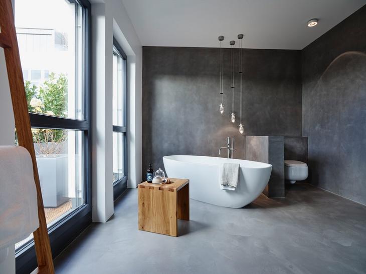 concrete floor penthouse bathroom