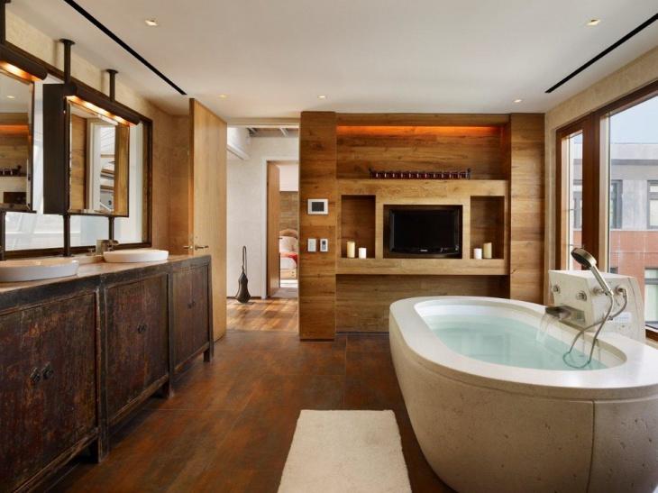 rustic penthouse bathroom