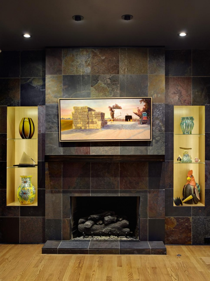 Slate Tile Fireplace Design