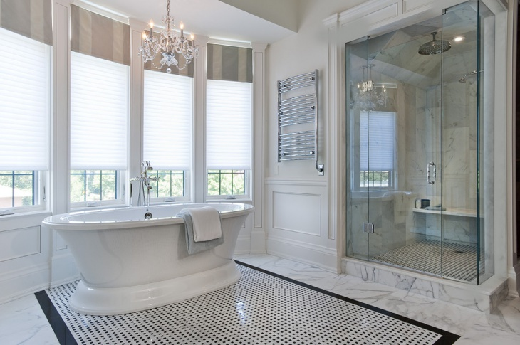 black and white bathroom floor tiles design