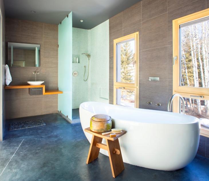Contemporary Concrete Bathroom Floor