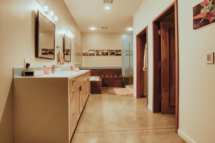 spa bathroom concrete floor