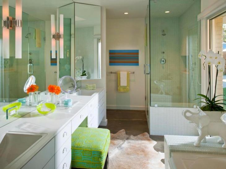 green shower concrete floors