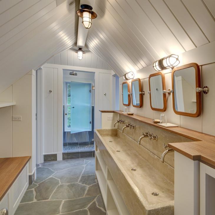 beach style bathroom concrete floor tiles