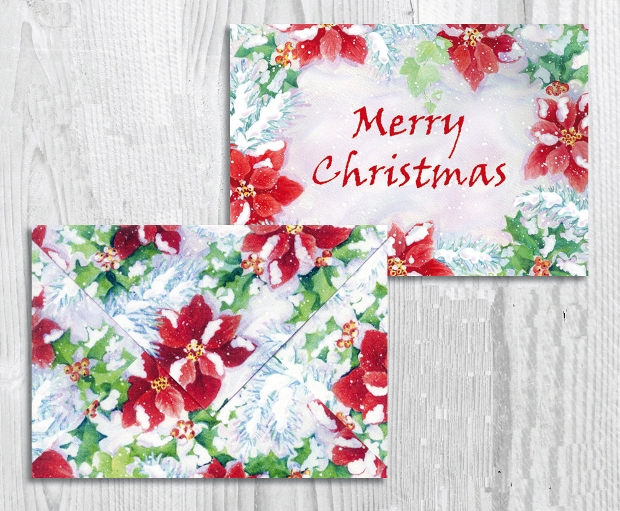 printable christmas gift card envelope design