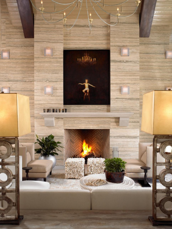 Travertine Tiles Fireplace Design
