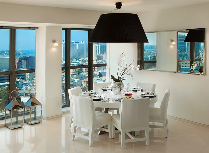 White Corner Dining Table Design