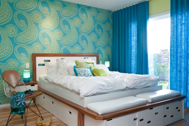 Teal Bohemian Bedroom