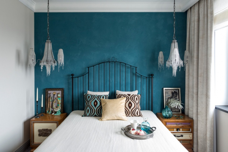 teal and white bedroom
