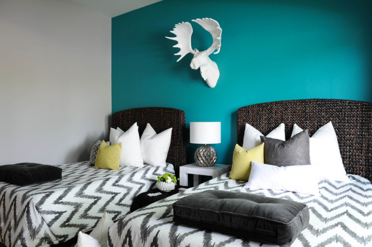 teal bedroom interior design