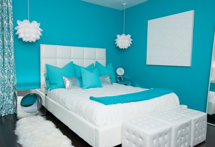 modern teal guest bedroom