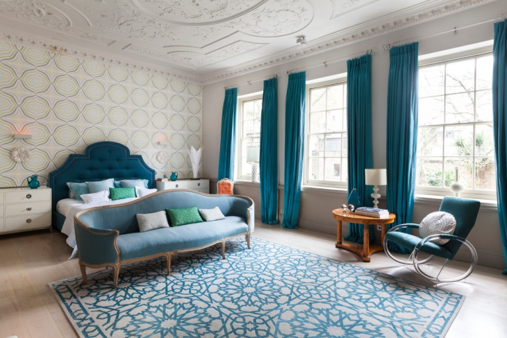 teal bedroom furnished idea